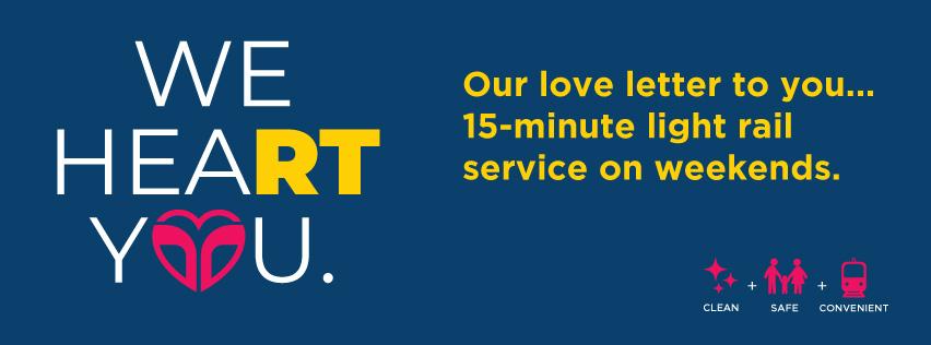 15-Minute Light Rail Service on Weekends Begins January 6