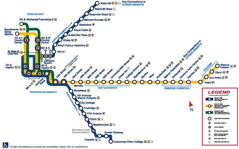 Sacramento Light Rail Map SacRT Stations Map Sacramento Light Rail Map
